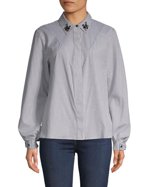 Laundry by Shelli Segal - Gray Candy Stripe Button-down Shirt - Lyst