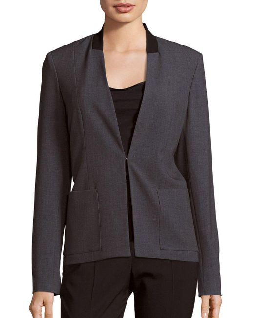 T Tahari   Gray Farley Long Sleeve Jacket   Lyst