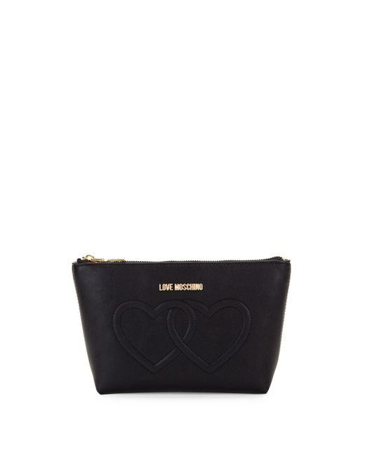 Love Moschino - Black Embossed Heart Makeup Pouch - Lyst