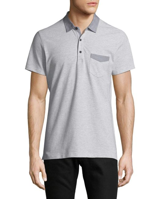 Saks Fifth Avenue - Gray Striped Cotton Polo for Men - Lyst
