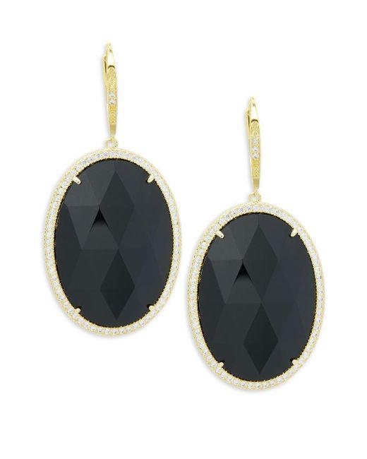Saks Fifth Avenue - Black Goldtone Cubic Zirconia Earrings - Lyst