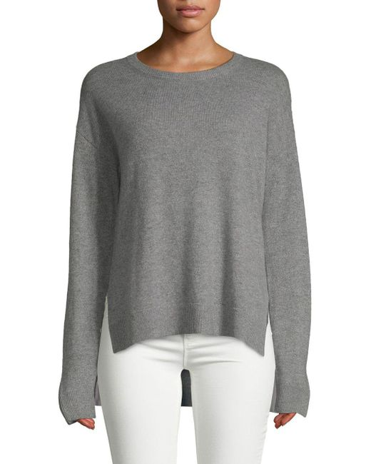 Saks Fifth Avenue - Gray Contrast Trim Cashmere Sweater - Lyst