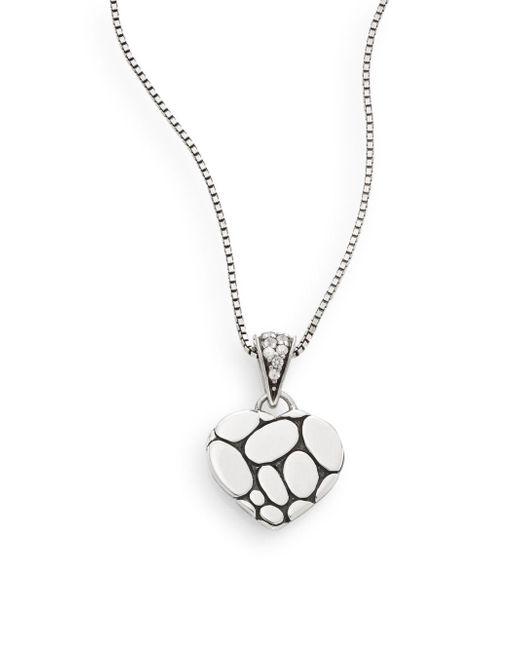 John Hardy - Metallic Kali White Sapphire & Sterling Silver Lava Heart Pendant Necklace - Lyst