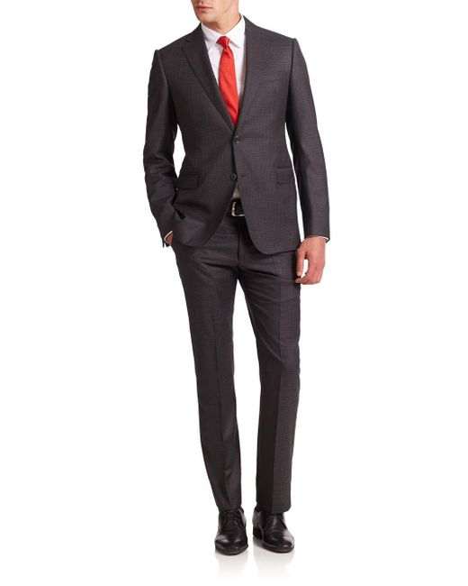 Armani Gray Two-button Virgin Wool Suit for men