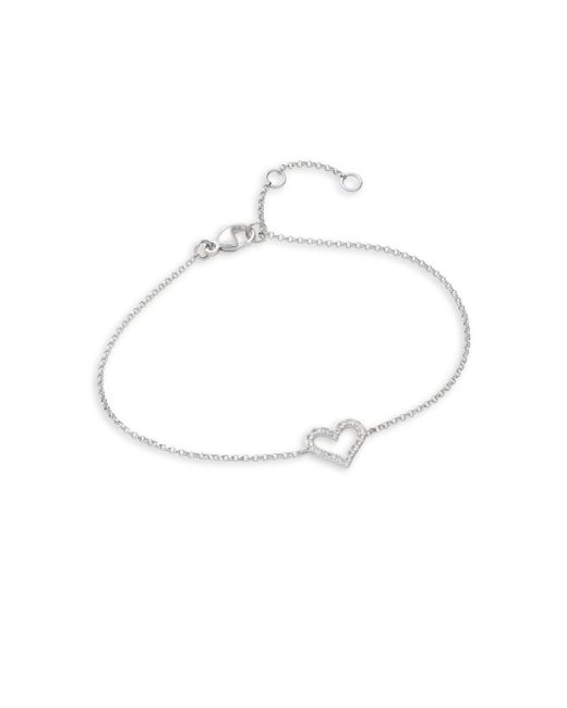 Effy - Metallic Pave Classica Diamond And 14k White Gold Heart Bracelet - Lyst