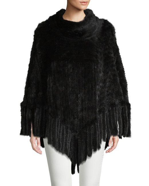 Belle Fare - Black Fringed Mink Fur Poncho - Lyst
