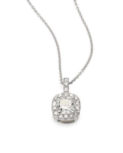 Saks Fifth Avenue | 1.0 Tcw Diamond Halo & 18K White Gold Cushion Pendant Necklace | Lyst