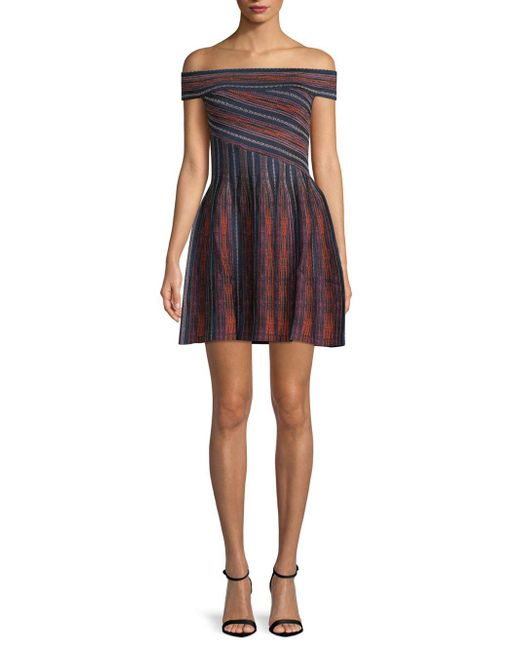 Ronny Kobo - Purple Sadie Striped Off-the-shoulder Mini Dress - Lyst