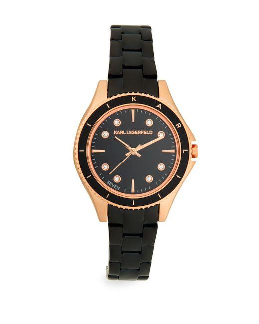 Karl Lagerfeld - Metallic Jan Rose-goldtone Stainless Steel Bracelet Watch - Lyst