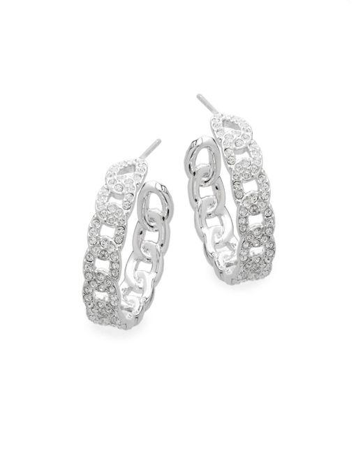 Adriana Orsini - Metallic Crystal Chain-like Hoop Earrings - Lyst
