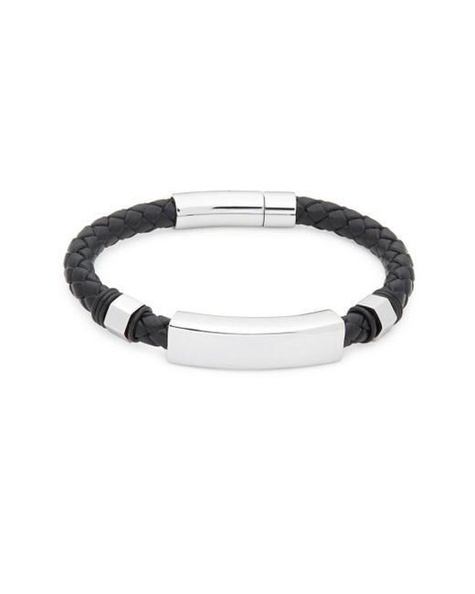 Saks Fifth Avenue - Black Stainless Steel Leather Bracelet for Men - Lyst