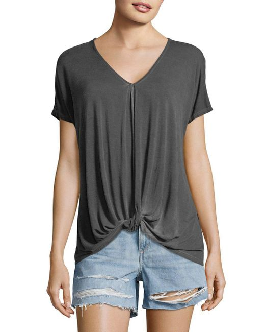 C&C California - Gray Knotted Short-sleeve Top - Lyst