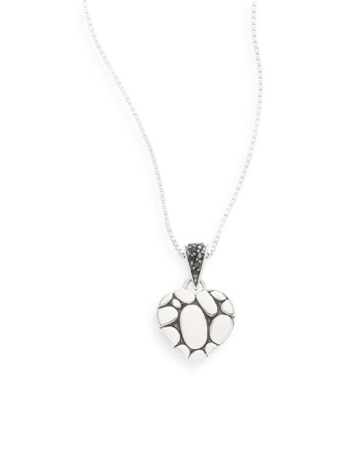John Hardy - Metallic Sterling Silver & Black Sapphire Heart Pendant Necklace - Lyst