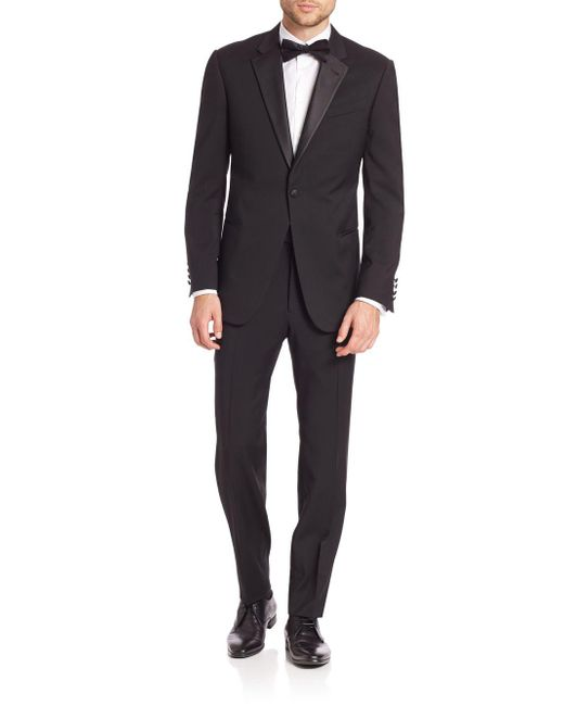 Armani - Black Basic Notch Lapel Tuxedo for Men - Lyst