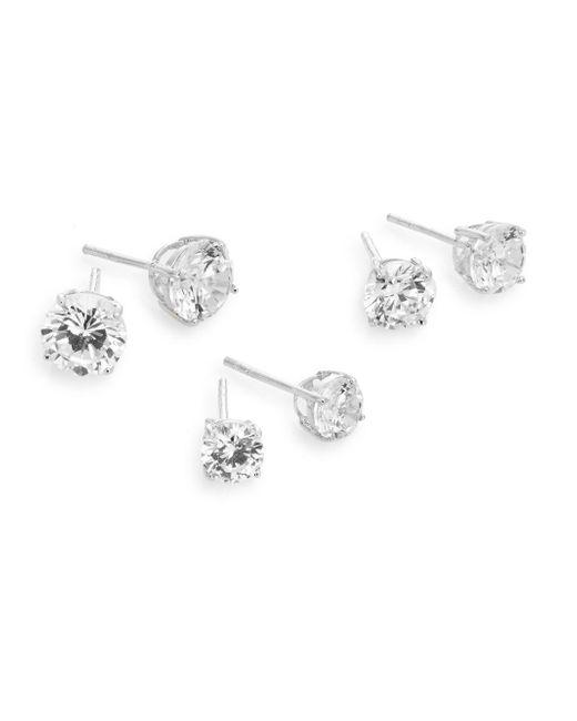 Ak Anne Klein | Metallic Sterling Silver Sparkle Stud Earring Set | Lyst