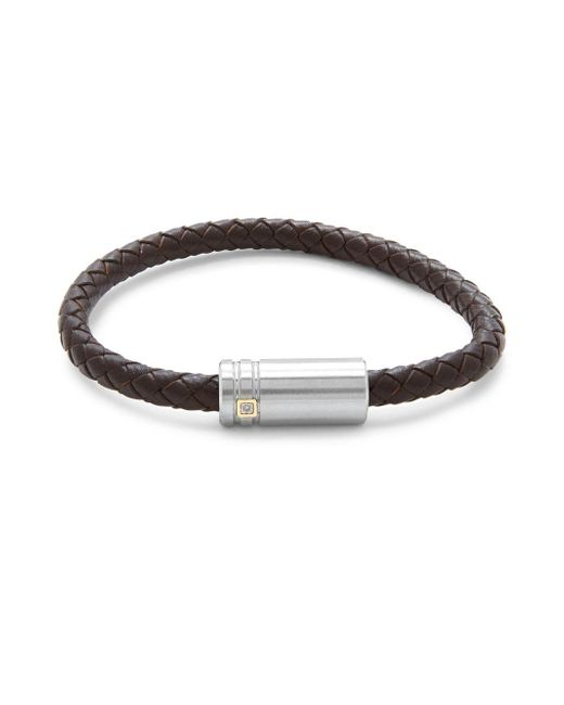 Saks Fifth Avenue - Brown 14k Gold Stainless Steel & Leather Bracelet - Lyst