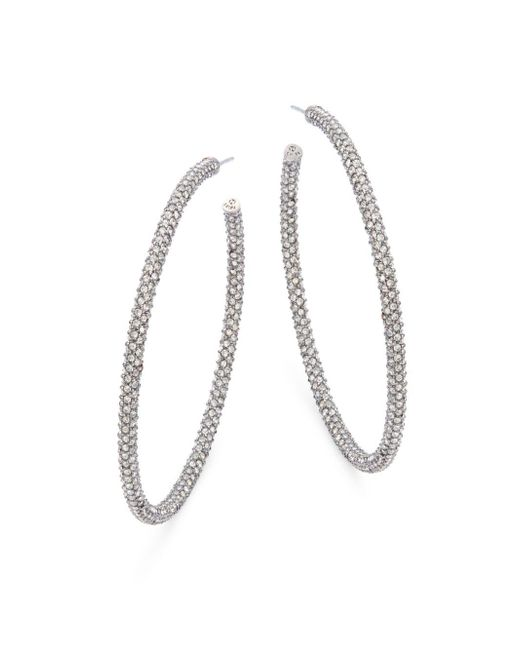 Adriana Orsini - Metallic Jumbo Micropave Silvertone Hoop Earrings - Lyst