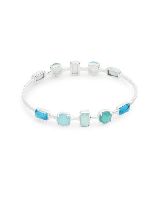 Ippolita - Metallic Wonder Clear Quartz, Blue Topaz And Sterling Silver Bangle Bracelet - Lyst