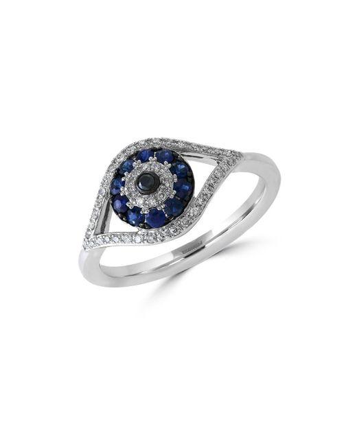 Effy - Blue Royale Bleu Sapphire, Diamond And 14k White Gold Evil Eye Ring - Lyst