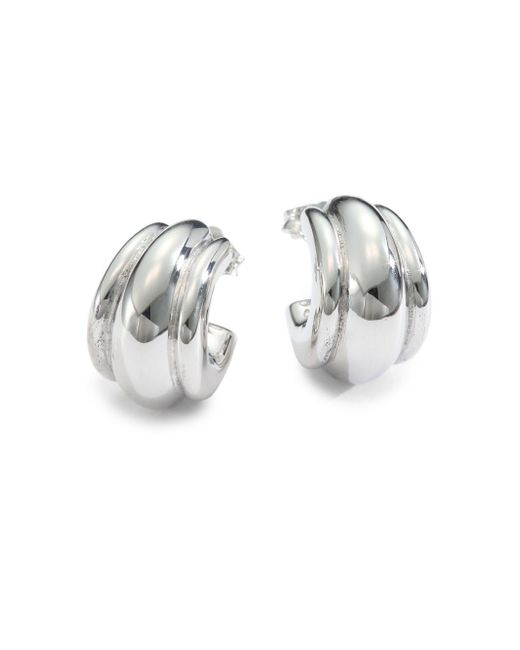 "Saks Fifth Avenue - Metallic Sterling Silver Fluted Hoop Earrings/.75"" - Lyst"