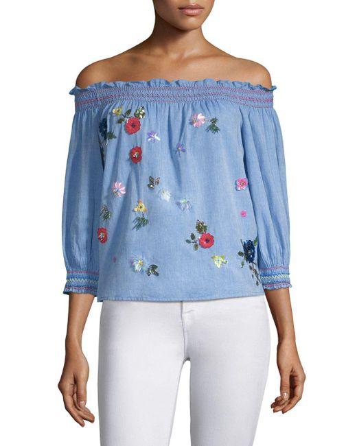 Joie - Blue Citra Off-the-shoulder Denim Top With Sequin Appliques - Lyst