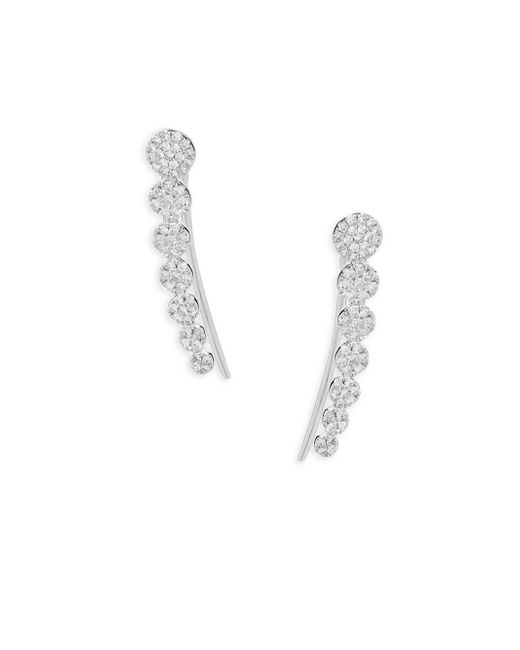 Saks Fifth Avenue - Metallic Diamond And 14k White Gold Cluster Earrings - Lyst