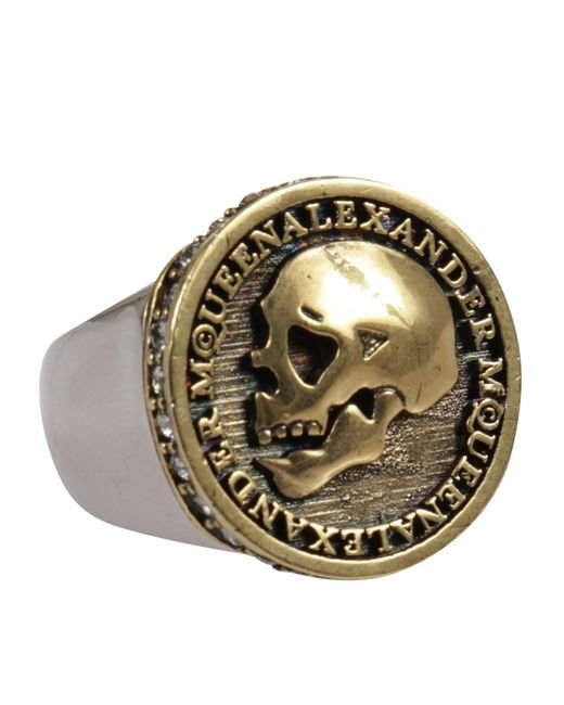 Alexander McQueen - Metallic Skull Motif Ring for Men - Lyst