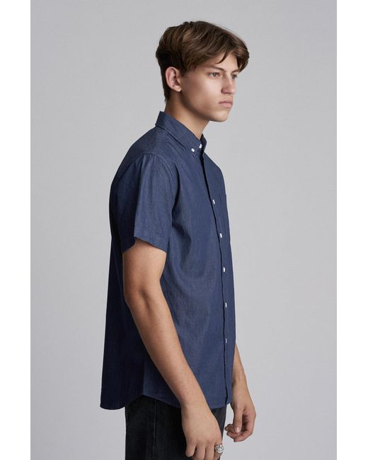 d8f0693aed ... Saturdays NYC - Blue Esquina Button Down Denim Shirt for Men - Lyst ...