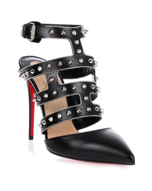 Christian Louboutin - Tchicaboum Black Spikes Sandal Us - Lyst