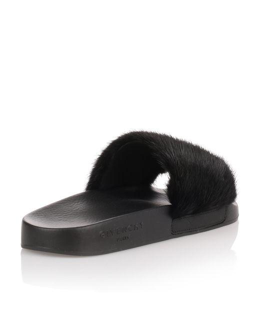 8e3a1c7270b6 ... Givenchy - Black Mink Slide Sandal - Lyst ...