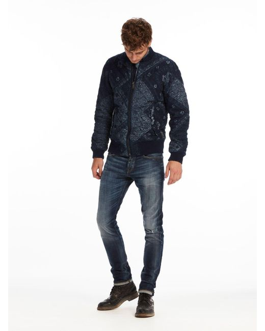 scotch soda bandana printed bomber jacket in blue for. Black Bedroom Furniture Sets. Home Design Ideas