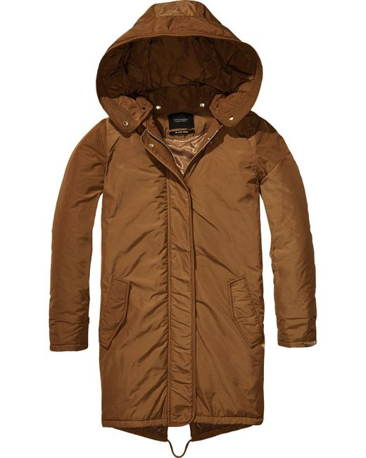 Scotch & soda Padded Parka in Brown | Lyst