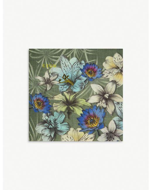 Eton of Sweden Green Floral Silk Pocket Square for men