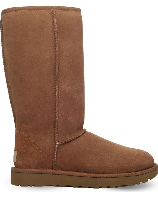 ugg classic ii sheepskin boots in brown lyst