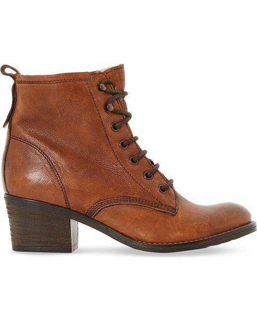 Dune | Brown Patsie Lace Up Block Heels | Lyst