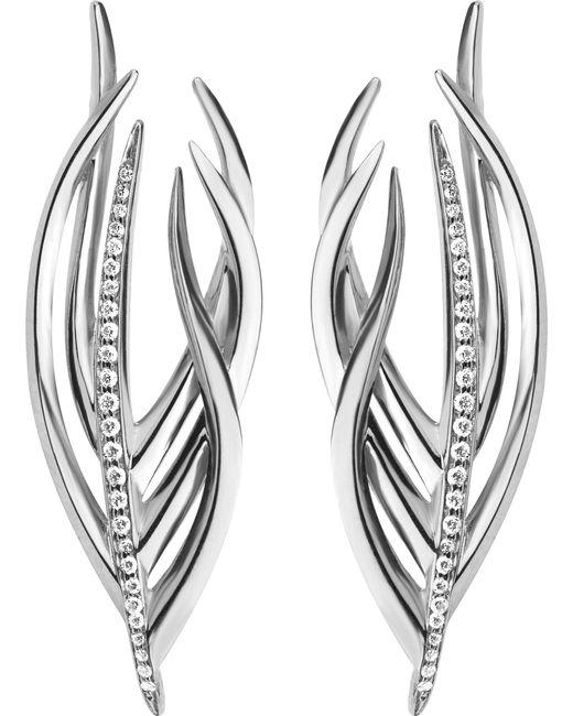 Shaun Leane - Metallic White Feather Silver And Diamond Earrings - Lyst