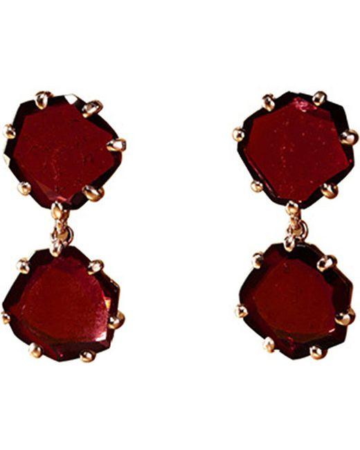 Annoushka | Red Shard 18ct Rose-gold And Rhodolite Garnet Drop Earrings | Lyst