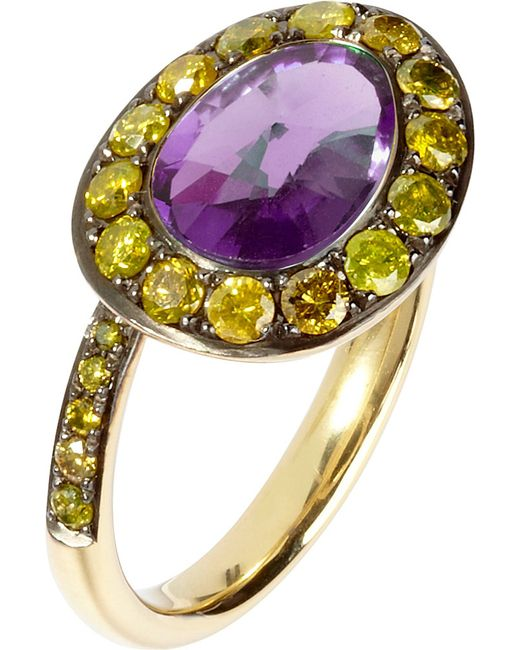 Annoushka | Purple Dusty Diamonds 18ct Yellow-gold Amethyst And Diamond Side Ring | Lyst