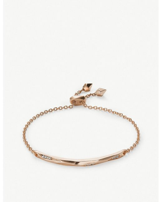 Kendra Scott - Metallic Angela 14ct Rose Gold-plated And Cubic Zirconia Chain Bracelet - Lyst
