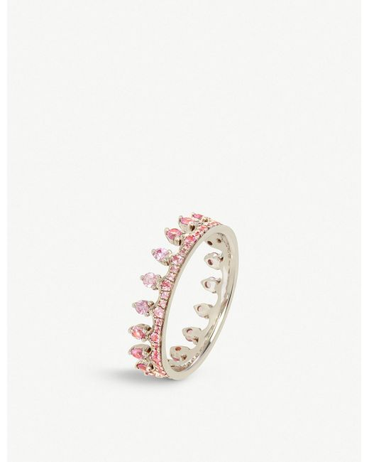 Annoushka - Metallic Crown 18ct White Gold And Pink Sapphire Ring - Lyst
