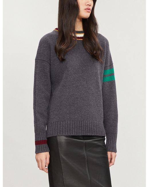 &Daughter - Gray Striped Wool Jumper - Lyst
