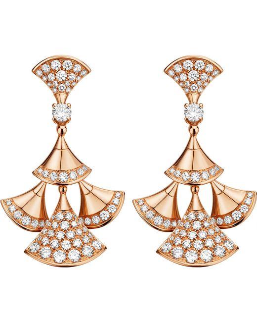 BVLGARI - Metallic Divas' Dream 18kt Pink-gold And Diamond Earrings - Lyst