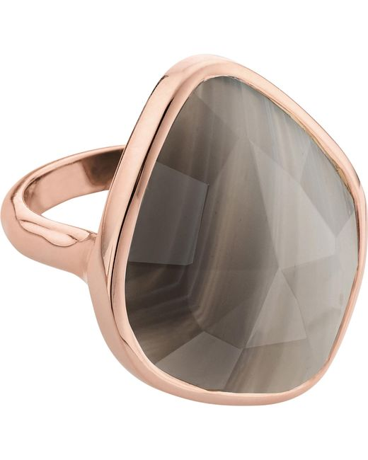 Monica Vinader | Metallic Siren 18ct Rose Gold Vermeil And Grey Agate Nugget Ring | Lyst