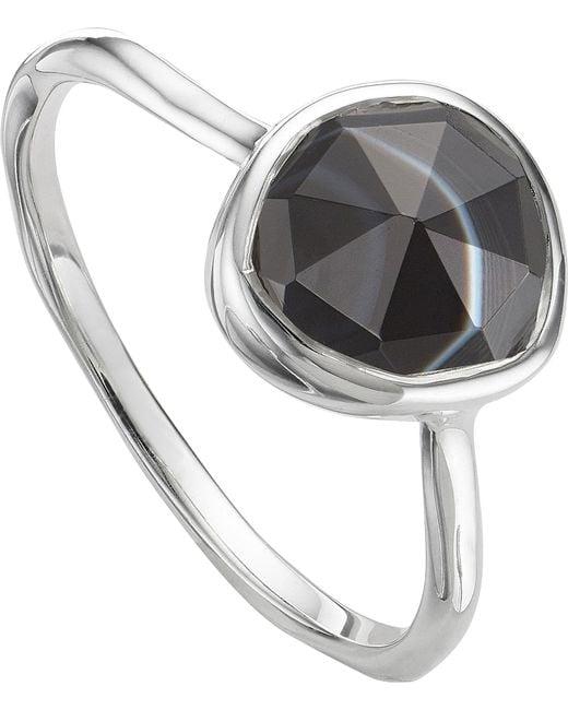 Monica Vinader - Metallic Siren Sterling Silver And Black Line Onyx Medium Stacking Ring - Lyst