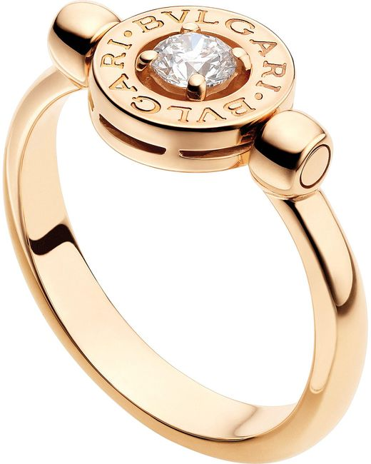 BVLGARI - - 18kt Pink-gold And Diamond Ring - Lyst