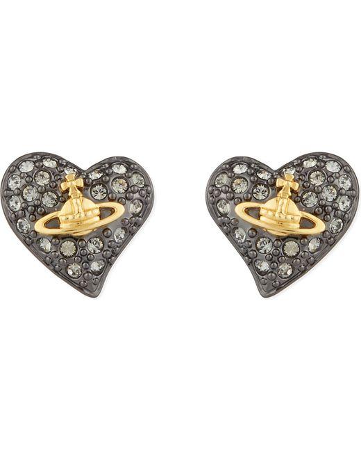 Vivienne Westwood   Metallic Tiny Diamanté Heart Studs   Lyst