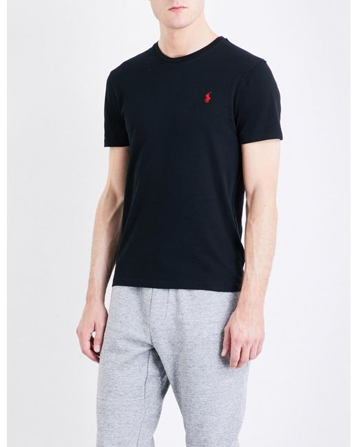 dfe8e963b1d5 Polo Ralph Lauren - Black Logo-embroidered Custom Slim-fit Cotton-jersey T