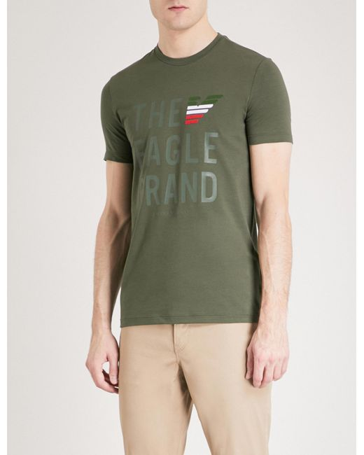 Emporio Armani | Green Printed Cotton-jersey T-shirt for Men | Lyst
