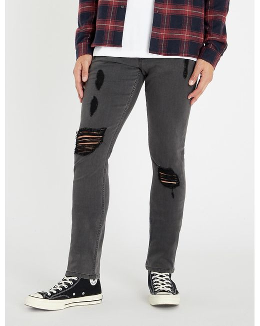 PAIGE - Gray Lennox Ripped Skinny Jeans for Men - Lyst