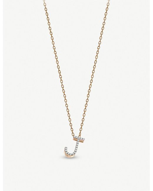 The Alkemistry - Metallic Kismet By Milka J Initial 14ct Rose-gold And Diamond Necklace - Lyst